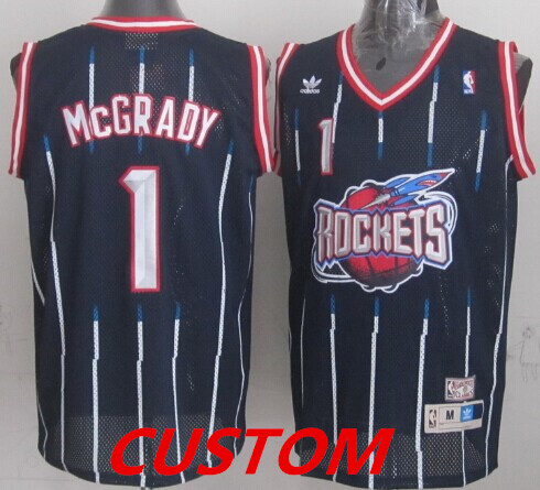 Custom Houston Rockets ABA Hardwood Classic Swingman Navy Blue Jersey