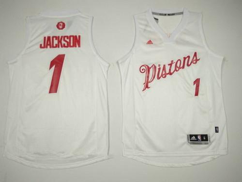 Men's Detroit Pistons #1 Reggie Jackson adidas White 2016 Christmas Day Stitched NBA Swingman Jersey