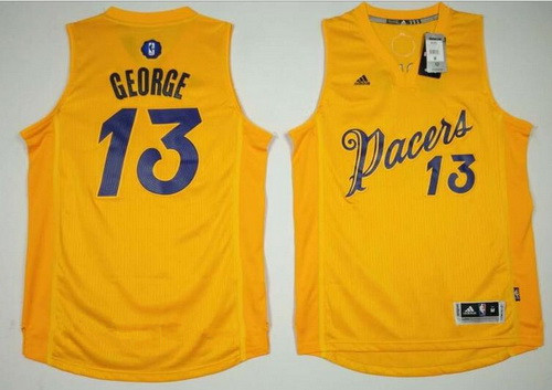 Men's Indiana Pacers #13 Paul George adidas Yellow 2016 Christmas Day Stitched NBA Swingman Jersey