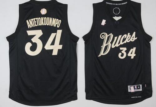 Men's Milwaukee Bucks #34 Giannis Antetokounmpo adidas Black 2016 Christmas Day Stitched NBA Swingman Jersey