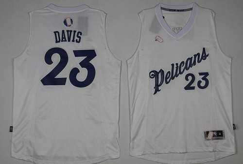 Men's New Orleans Pelicans #23 Anthony Davis adidas White 2016 Christmas Day Stitched NBA Swingman Jersey
