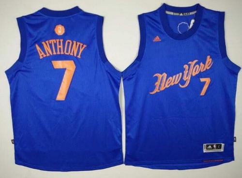 Men's New York Knicks #7 Carmelo Anthony Adidas Royal Blue 2016 Christmas Day Stitched NBA Swingman Jersey