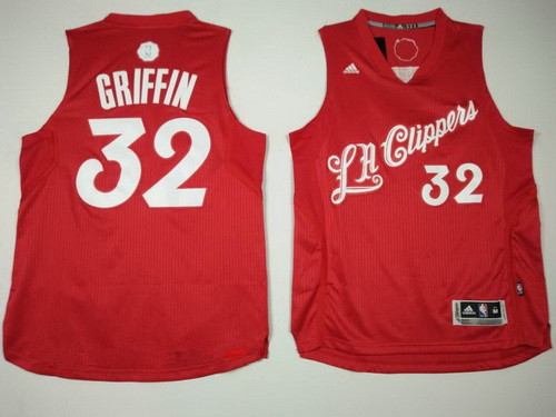 Men's Los Angeles Clippers #32 Blake Griffin adidas Red 2016 Christmas Day Stitched NBA Swingman Jersey