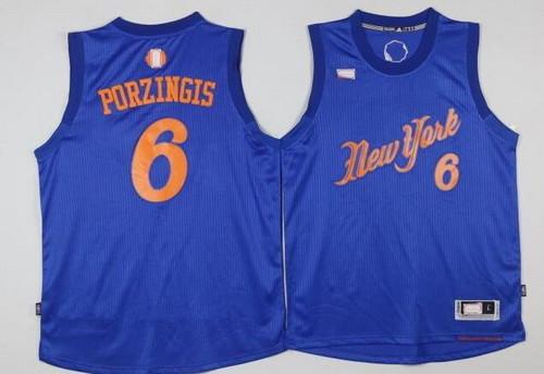 Men's New York Knicks #6 Kristaps Porzingis Adidas Royal Blue 2016 Christmas Day Stitched NBA Swingman Jersey