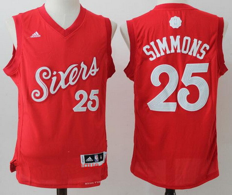 Men's Philadelphia 76ers #25 Ben Simmons Red adidas Red 2016 Christmas Day Stitched NBA Swingman Jersey