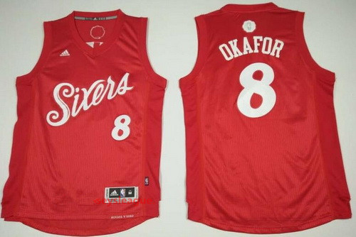 Men's Philadelphia 76ers #8 Jahlil Okafor adidas Red 2016 Christmas Day Stitched NBA Swingman Jersey