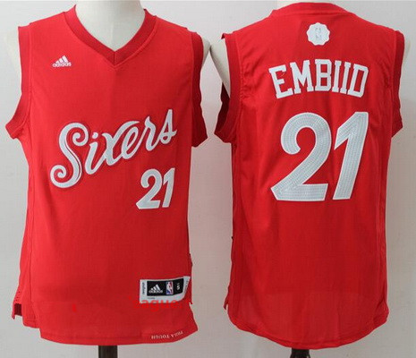Men's Philadelphia 76ers #21 Joel Embiid adidas Red 2016 Christmas Day Stitched NBA Swingman Jersey