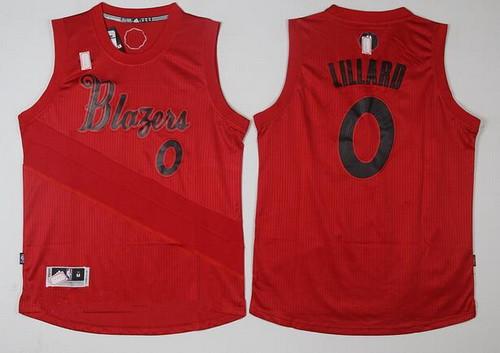 Men's Portland Trail Blazers #0 Damian Lillard adidas Red 2016 Christmas Day Stitched NBA Swingman Jersey