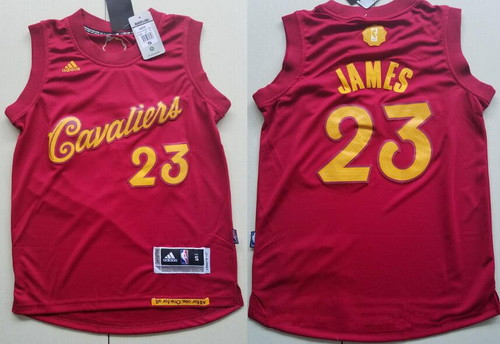 Youth Cleveland Cavaliers #23 LeBron James adidas Burgundy Red 2016 Christmas Day Stitched NBA Swingman Jersey