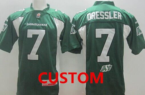 CFL Saskatchewan Roughriders Custom r Green Jersey
