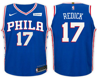 Men's Philadelphia 76ers #17 J.J. Redick Blue 2017-2018 Nike Swingman Stitched NBA Jersey