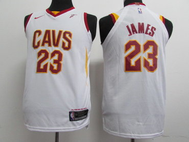 Nike Cavaliers #23 LeBron James White Stitched Youth NBA Swingman Jersey