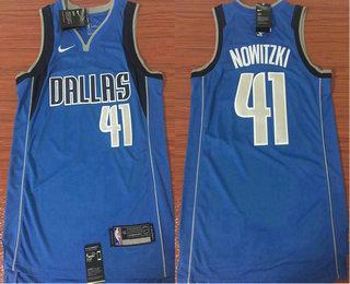 Men's Dallas Mavericks #41 Dirk Nowitzki Light Blue 2017-2018 Nike Icon Edition Swingman Jersey