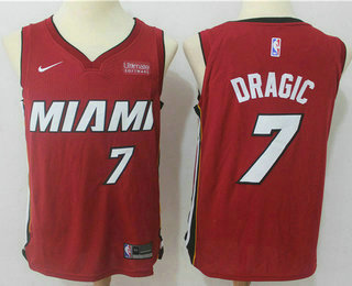 Men's Miami Heat #7 Goran Dragic Red 2017-2018 Nike Swingman Ultimate Software Stitched NBA Jersey