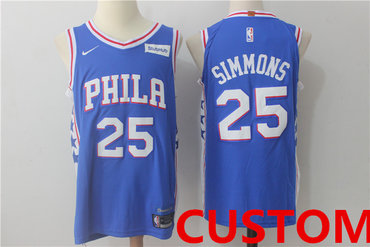 Custom Men's Philadelphia 76ersNew Royal Blue 2017-2018 Nike Swingman Stitched NBA Jersey
