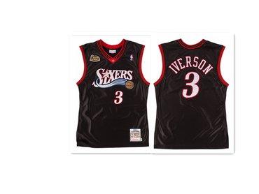 Philadelphia 76ers #3 Allen Iverson Black 2000-2001 NBA Finals Patch Swingman Jersey