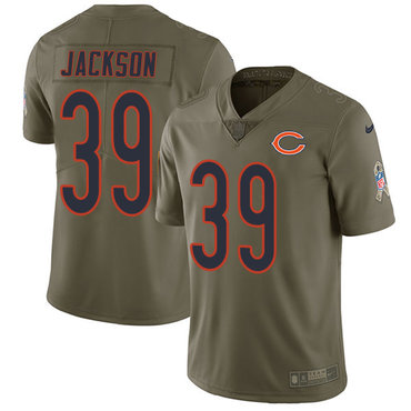 Nike Chicago Bears Men's #39 Eddie Jackson Limited Olive 2017 Salute to Service NFL Jersey
