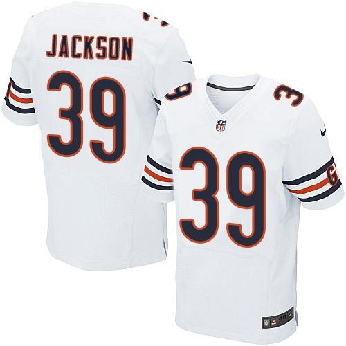 Nike Chicago Bears Men's #39 Eddie Jackson Elite White Road NFL Jersey