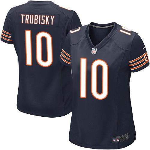 Women's Nike Chicago Bears #10 Mitchell Trubisky Navy Blue Team Color Stitched NFL Elite Jersey