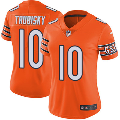 Women's Nike Chicago Bears #10 Mitchell Trubisky Orange Stitched NFL Limited Rush Jersey