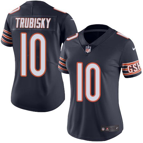 Women's Nike Chicago Bears #10 Mitchell Trubisky Navy Blue Team Color Stitched NFL Vapor Untouchable Limited Jersey