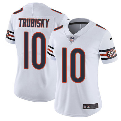 Women's Nike Chicago Bears #10 Mitchell Trubisky White Stitched NFL Vapor Untouchable Limited Jersey