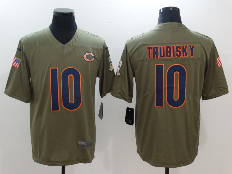 Men's Chicago Bears #10 Mitchell Trubisky Olive 2017 Salute To Service Stitched NFL Nike Limited Jersey
