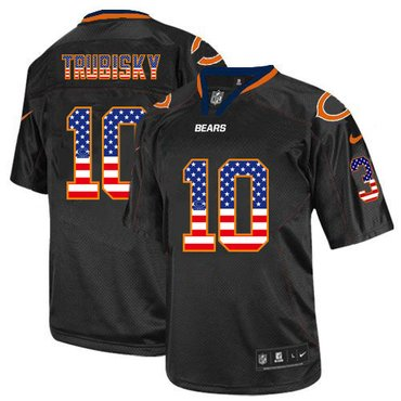Men's Chicago Bears #10 Mitchell Trubisky Black USA Flag Fashion Stitched NFL Nike Elite Jersey