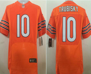 Men's Chicago Bears #10 Mitchell Trubisky Orange Alternate Stitched NFL Nike Elite Jersey