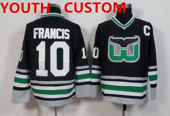 Youth Hartford Whalers Mens Customized Black Throwback Jersey