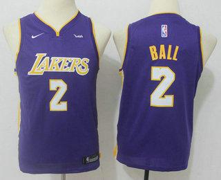 Youth Los Angeles Lakers #2 Lonzo Ball New Purple 2017-2018 Nike Swingman Wish Stitched NBA Jersey