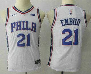 Youth Philadelphia 76ers #21 Joel Embiid White 2017-2018 Nike Swingman Stubhub Stitched NBA Jersey