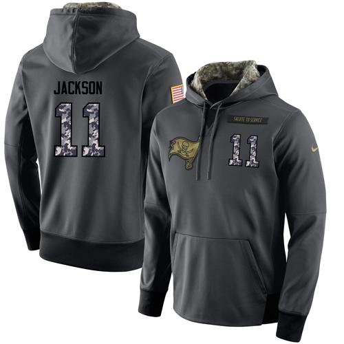 NFL Men's Nike Tampa Bay Buccaneers #11 DeSean Jackson Stitched Black Anthracite Salute to Service Player Performance Hoodie
