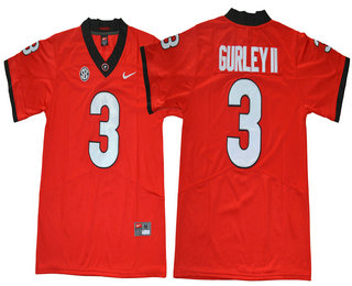 Men's Georgia Bulldogs #3 Todd Gurley II Red Limited 2017 College Football Stitched Nike NCAA Jersey