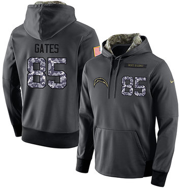NFL Men's Nike San Diego Chargers #85 Antonio Gates Stitched Black Anthracite Salute to Service Player Performance Hoodie