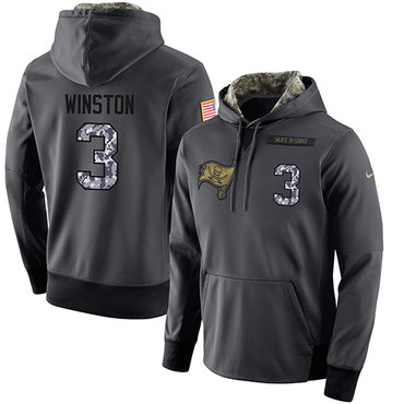 NFL Men's Nike Tampa Bay Buccaneers #3 Jameis Winston Stitched Black Anthracite Salute to Service Player Performance Hoodie