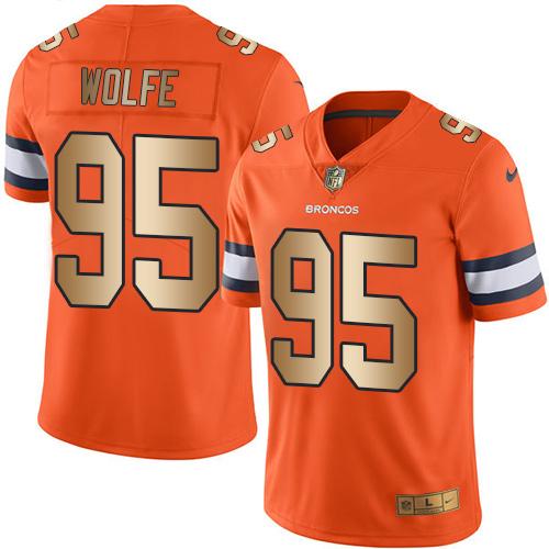 Nike Broncos #95 Derek Wolfe Orange Men's Stitched NFL Limited Gold Rush Jersey