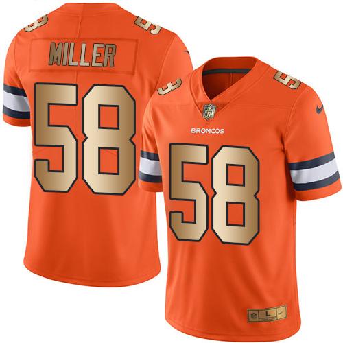 Nike Broncos #58 Von Miller Orange Men's Stitched NFL Limited Gold Rush Jersey
