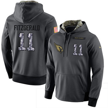 NFL Men's Nike Arizona Cardinals #11 Larry Fitzgerald Stitched Black Anthracite Salute to Service Player Performance Hoodie
