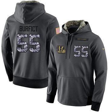 NFL Men's Nike Cincinnati Bengals #55 Vontaze Burfict Stitched Black Anthracite Salute to Service Player Performance Hoodie