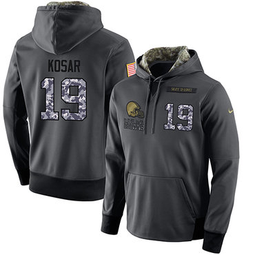 NFL Men's Nike Cleveland Browns #19 Bernie Kosar Stitched Black Anthracite Salute to Service Player Performance Hoodie