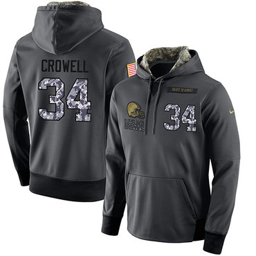 NFL Men's Nike Cleveland Browns #34 Isaiah Crowell Stitched Black Anthracite Salute to Service Player Performance Hoodie