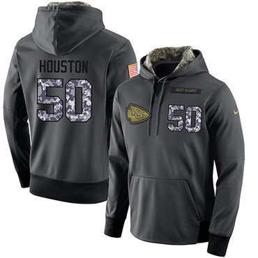 NFL Men's Nike Kansas City Chiefs #50 Justin Houston Stitched Black Anthracite Salute to Service Player Performance Hoodie