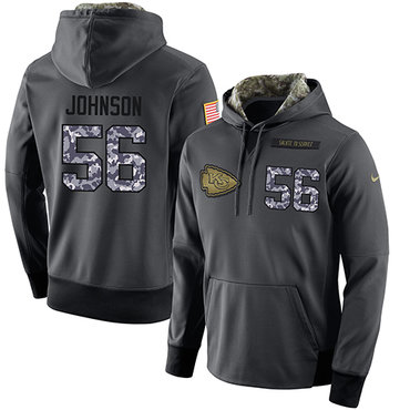 NFL Men's Nike Kansas City Chiefs #56 Derrick Johnson Stitched Black Anthracite Salute to Service Player Performance Hoodie