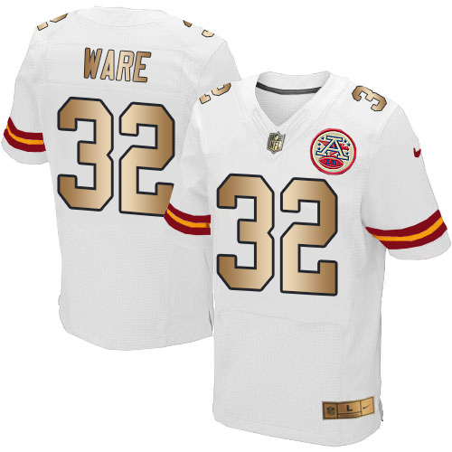 Nike Chiefs #32 Spencer Ware White Men's Stitched NFL Elite Gold Jersey