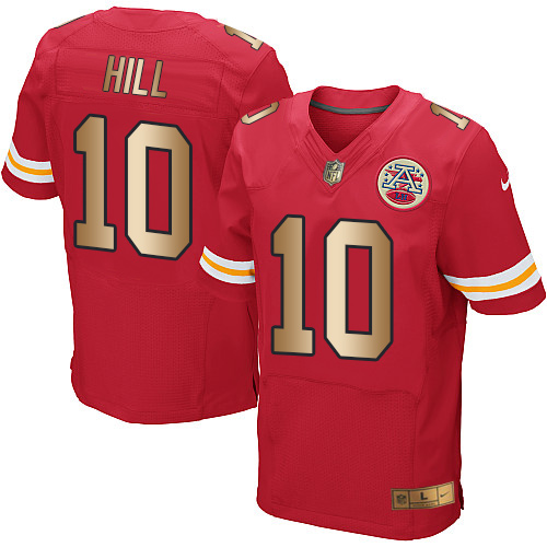 Nike Chiefs #10 Tyreek Hill Red Team Color Men's Stitched NFL Elite Gold Jersey