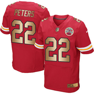 Nike Chiefs #22 Marcus Peters Red Team Color Men's Stitched NFL Elite Gold Jersey