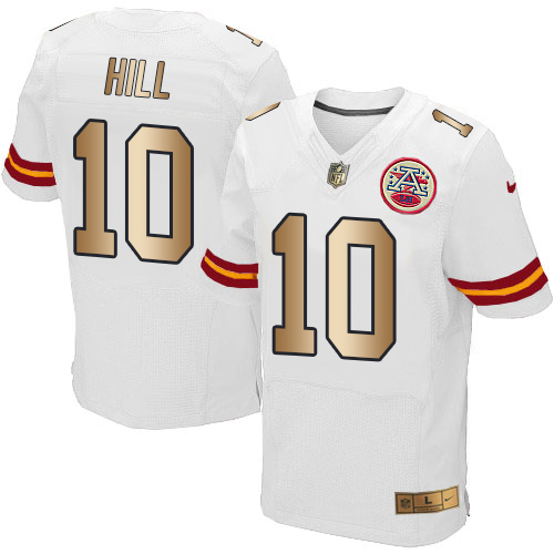 Nike Chiefs #10 Tyreek Hill White Men's Stitched NFL Elite Gold Jersey