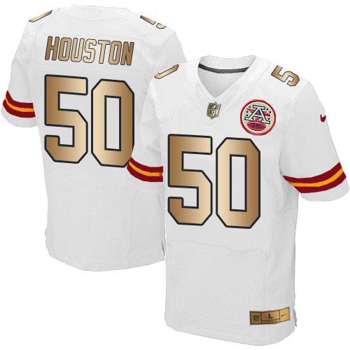 Nike Chiefs #50 Justin Houston White Men's Stitched NFL Elite Gold Jersey