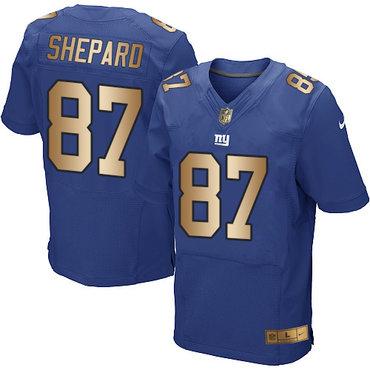 Nike Giants #87 Sterling Shepard Royal Blue Team Color Men's Stitched NFL Elite Gold Jersey